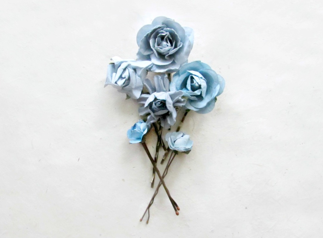 Dusty Blue Paper Flower Hair Pins