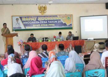 Bupati Barru, Suardi Saleh membuka rapat koordinasi  Anggaran Desa di Kabupaten Barru.