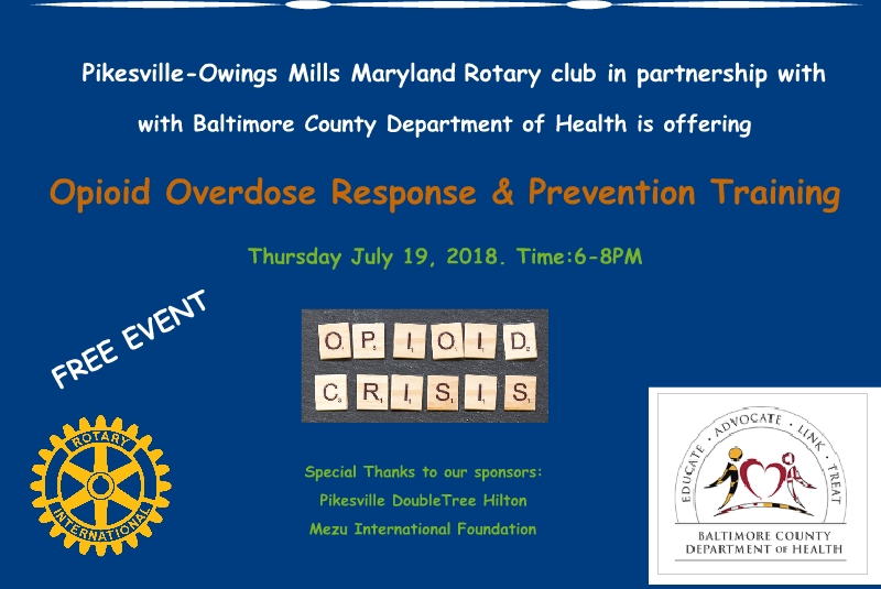 Pikesville Rotary Event: Opioid Overdose Response and Prevention Training