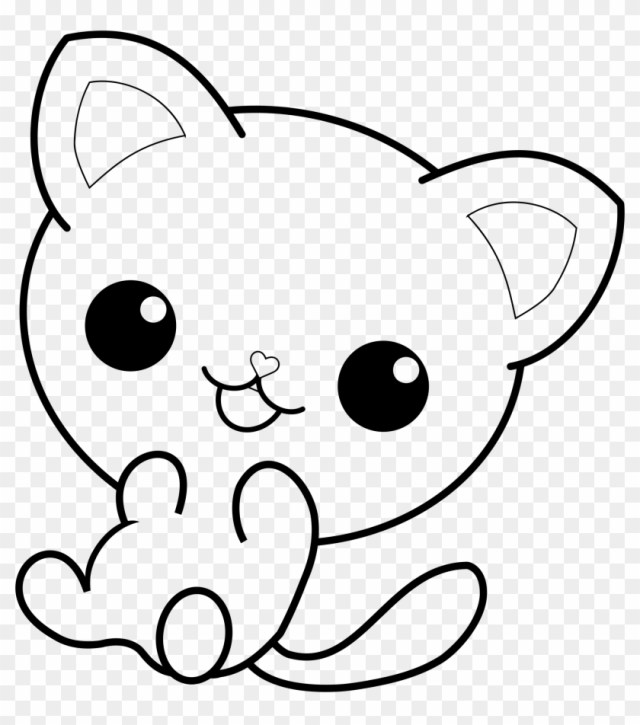 Big Image - Kawaii Cat Coloring Pages Clipart (#22) - PikPng