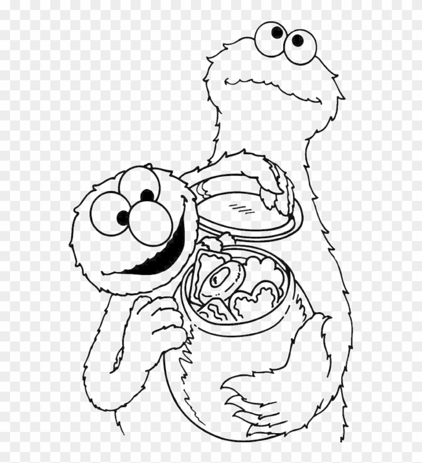 Cookie Monster Share Cookies Coloring Page Coloring Book Clipart 320366 Pikpng