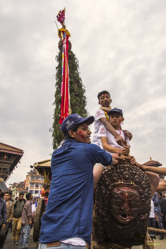 Young chariot riders at Rato Machhendranath festival in Kathmandu Nepal . Pictures by pikturenama