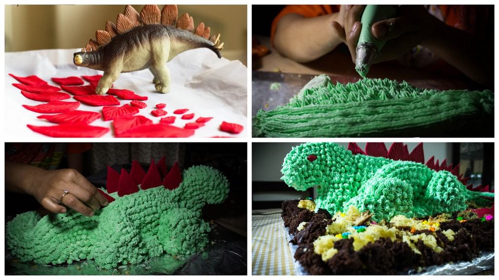 Dinosaur Cake by pikturenama different stages