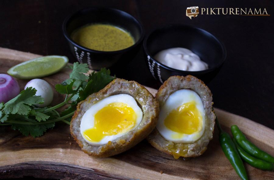 runny yolk for Dimer Devil or Scotch eggs Desi style by pikturenama