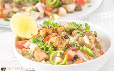 Nepali Chicken Sadeko or Chicken Salad Nepali Style