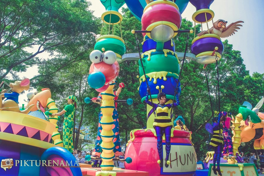 Flights of Fantasy in Hong Kong DIsneyland the colours and aerialists