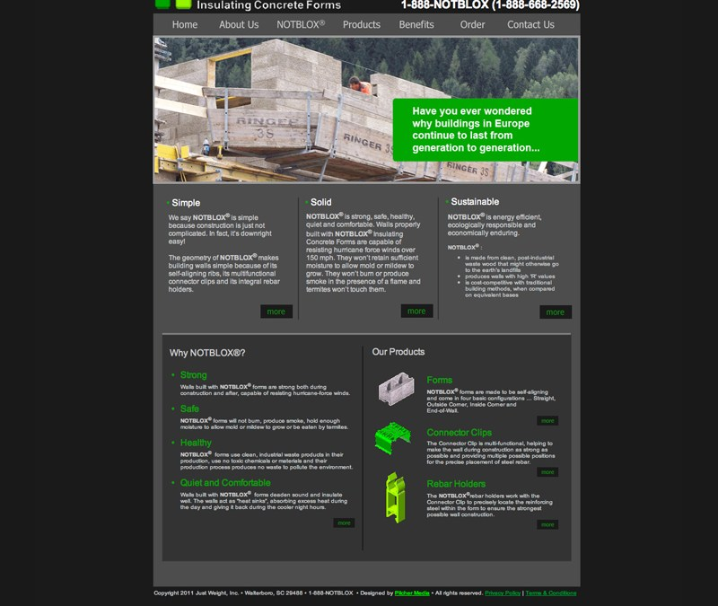 Notblox Concrete Forms Website Design and Development