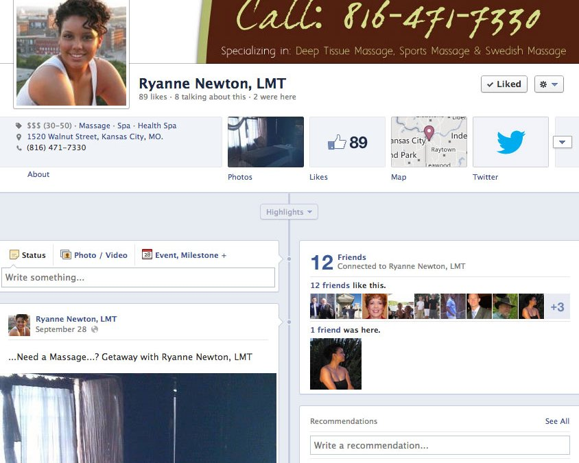Social Media for Massage Therapist, Ryanne Newton at The Getaway in Crossroads Chiropractic