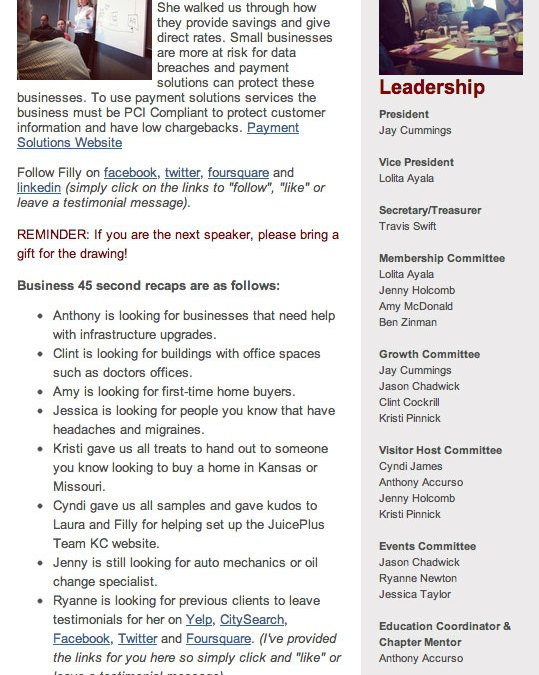 New E-Newsletters for BNI Kansas City Business Leaders!