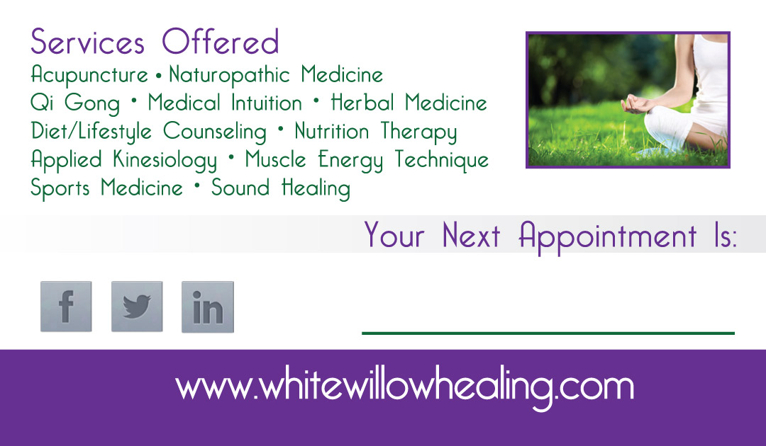 New Business Cards for White Willow Healing Arts