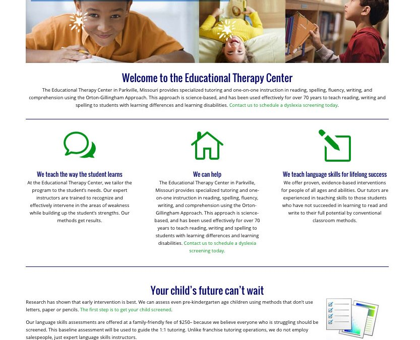 New Website for Educational Therapy Center