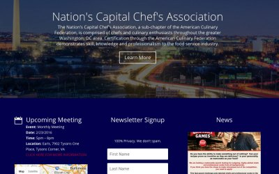 New Website for ACF Nation's Capital Chef's Association in Washington, DC