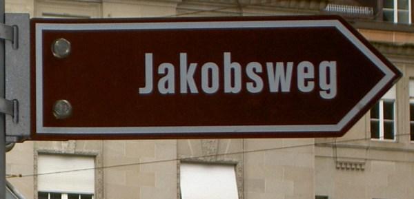 Wegweiser Jakobsweg braun