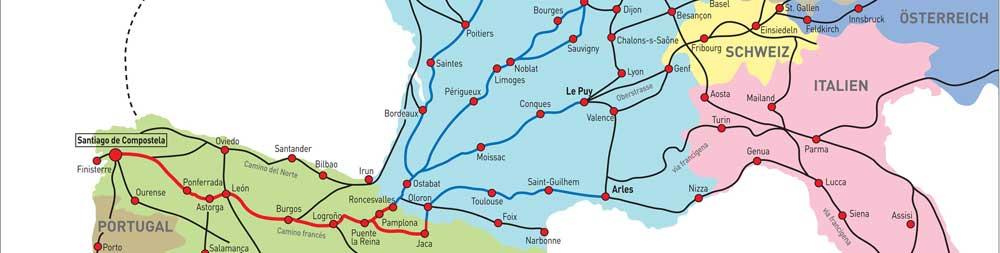 Karte Jakobsweg