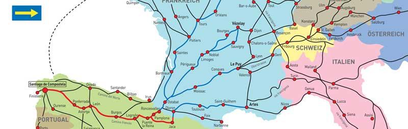 Karte Jakobsweg Ausschnitt