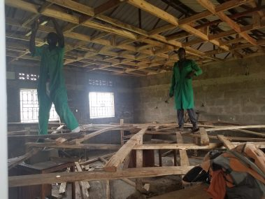 Building the classroom ceilings