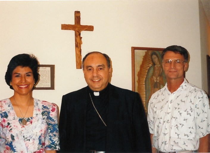 Mary Jane and Tom Fox with Bishop Joseph Galante