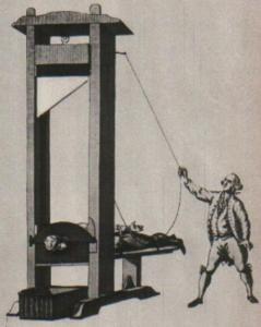 La ghigliottina (da una stampa d'epoca)