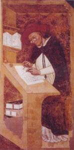 Un hombre que sufre de miopía con lentes en la Edad Media
