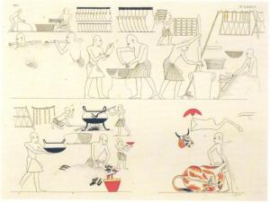 Scene di lavorazione dei cibi in Egitto (particolare di pittura parietale della tomba di Ramesse III)