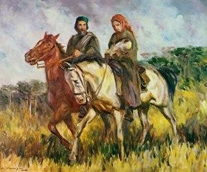 Giuseppe e Anita Garibaldi in una tela di Guido Mondin