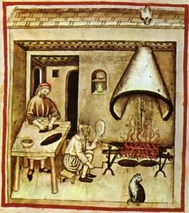 Preparando um assado na Idade Média