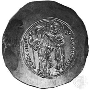 Moneta raffigurante l'incoronazione dell'imperatore bizantino Andronico I Comneno, da cui deriva l'espressione cornuto/cornuta