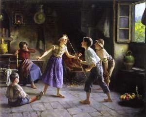 Bambini che giocano a moscacieca. Molti giochi e giocattoli dei bambini medievali si sono mantenuti fino ad oggi