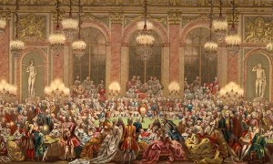 """Il gioco del """"faraone"""" a Versailles. Le grandi stanze della reggia venivano riempite di sali odorosi, ma con scarsi risultati"""