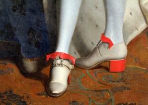 Sapatos com saltos de Louis XIV (detalhe de uma pintura)