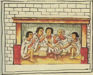 Uomini aztechi che mangiano. Gli Aztechi consumavano abitualmente cioccolata