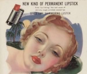 Pubblicità di un rossetto per le labbra di inizio '900