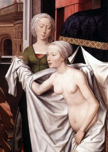 """""""Betsabea nel bagno"""" The Hans Memling (1485); the painted woman embodies the ideal of female beauty era"""