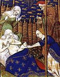 Un nacimiento en la Edad Media. En la Edad Media embarazo y el parto son momentos importantes en la vida familiar