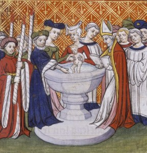 Baptism of Isabella daughter of Charles V the Wise. We are in France, but in the same period covered in this post, The '300