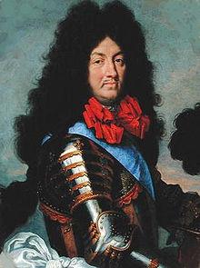 Retrato de Louis XIV (1684). O Rei Sol foi dedicado com paixão para o jogo de tigelas