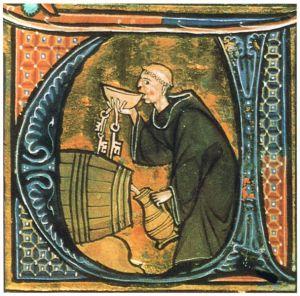 idade média: un monaco assaggia il vino. Nelle mense dei conventi si serviva spesso ai pellegrini la minestra, di cui esistevano tante varietà