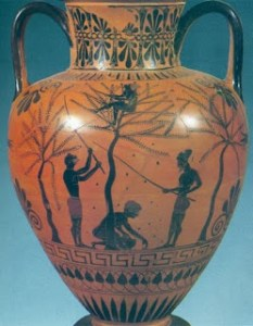 greek vase with painted an olive tree. The olives were very have used in the kitchen, both the Greeks and Romans,