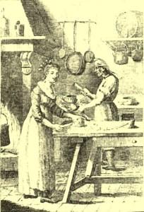 Una cucina dell'800. Il pollo era, all'epoca, un alimento piuttosto comune