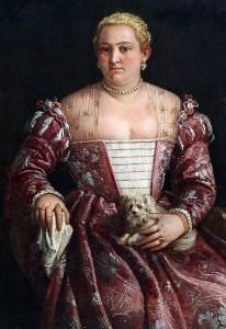 Retrato de señora sentada con un pañuelo y pequeño perro, Francesco Montemezzano