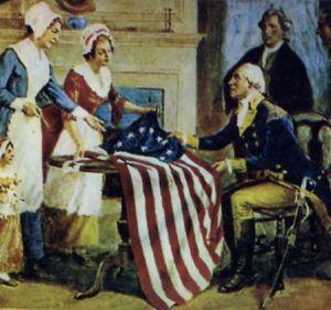 Philadelphia Spinners entregan la bandera estadounidense a G. Washington