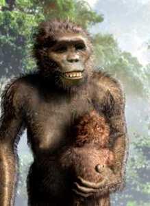 Die Rekonstruktion der Lucys Physiognomie, die Probe von Australopithecus afarensis in Afrika 41 Jahren
