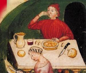 Una mesa en el Renacimiento. El lío de hierbas se presenta en este post es una receta de '400