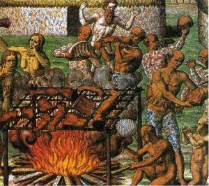 eine vor wenigen Jahrhunderten Kannibalismus Szene