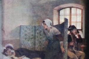"""Il dipinto di Tony Robert-Fleury intitolato """"Maria Antonietta il mattino della sua esecuzione"""". A menina à direita é Rosalie Lamorlière imaginado pelo autor"""