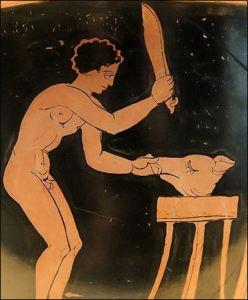 Un antico greco alle prese con un maiale da mangiare. Il maialino veniva cucinato in diversi modi