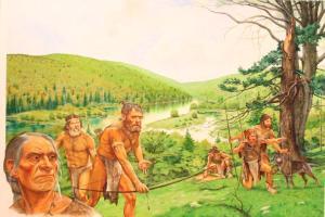 """prähistorisches Camp. Spuren von rudimentär & quot; Zigaretten"""" Es wurde vor kurzem in einer von ihnen gefunden worden,"""