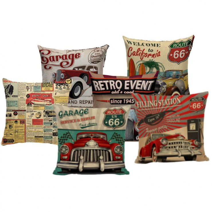 vintage roadster welcome to california route 66 decorative pillow