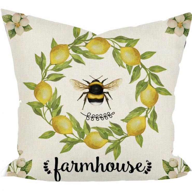 sweet summer farmhouse lemon wreath honey bee decorative throw pillow