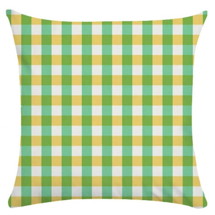 gingham plaid small check lime green and yellow decorative throw pillow